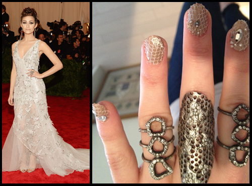 Emmy Rossum Met Gala 2013 nails with lace nail art by butter LONDON