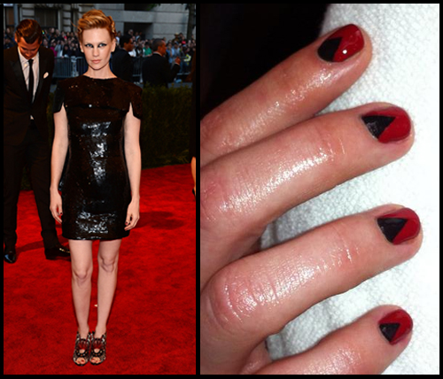 January Jones chevron moon nail art Met Gala 2013 by Chanel