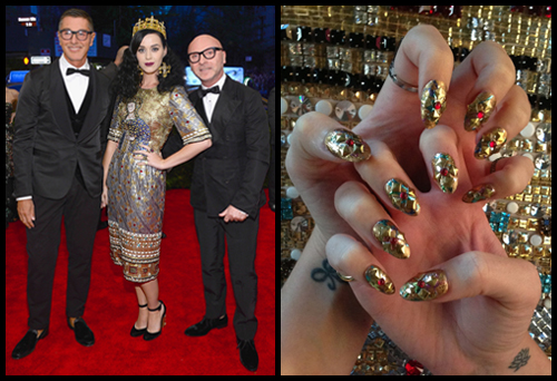 Katy Perry in Dolce & Gabbana at the Met Gala 2013 wearing Patricia Yankee nail art