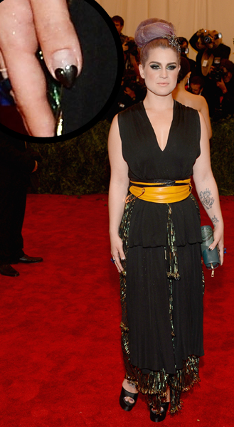 Kelly Osbourne heart stiletto nail art Met Gala 2013