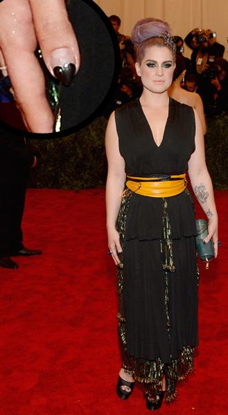 Kelly Osbourne heart stiletto nail art Met Gala 2013