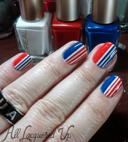 Patriotic Striped Nails using L'Oreal Paris Colour Riche