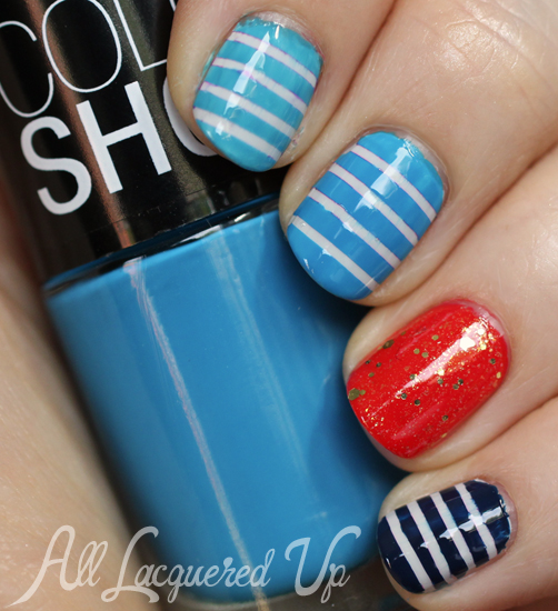 Maybelline Color Show Summer 2013 Nautical Strip Nail Art