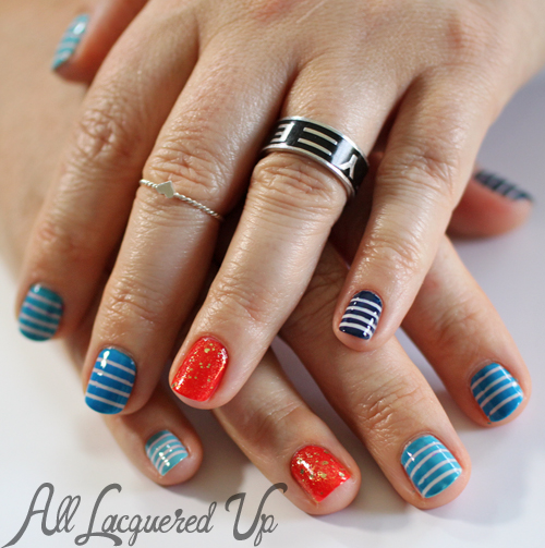 Nautical Stripe Nail Art Manicure using Maybelline Color Show Nail Polish