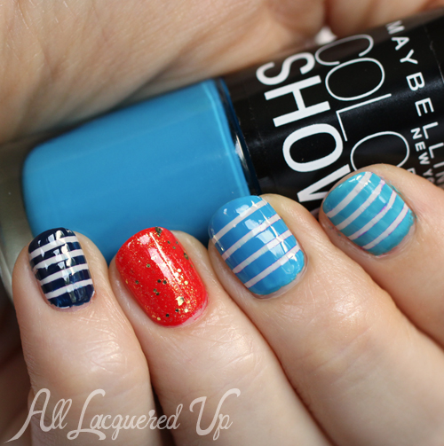 Nauti Stripe Nail Art using Maybelline Color Show Summer 2013