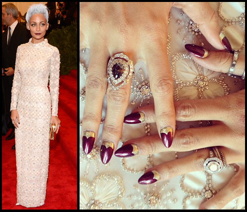 Nicole Richie nail art at the Met Gala 2013