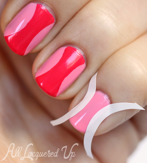 Hourglass nail art manicure using OPI Couture de Minnie nail polish