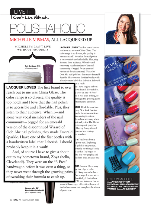 nail it magazine all lacquered up Nail It!   A Magazine for Nail Fanatics (And Im In It!)