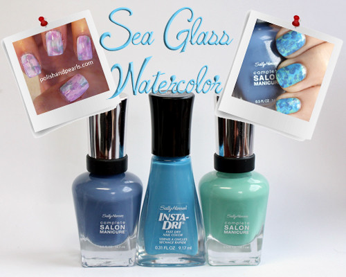 pinspirationail sea glass watercolor marble nail art PinspiratioNAIL   Sea Glass Watercolor Nail Art with Sally Hansen