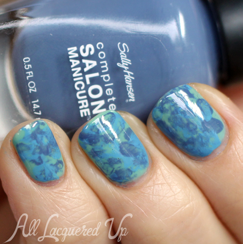 Watercolor Marble nail art with Sally Hansen Blue-ming Fast