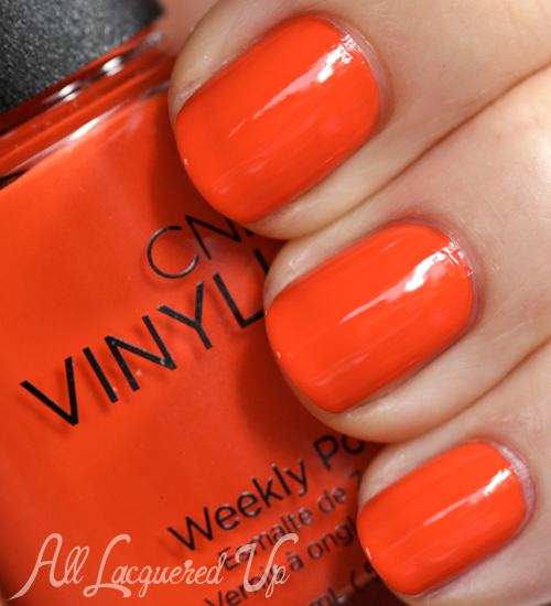 CND VINYLUX Electric Orange nail polish swatch