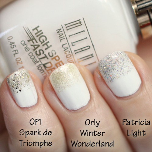 Glitter Tipped White Nails With Opi Spark De Triomphe Orly Winter Wonderland And Patricia Light