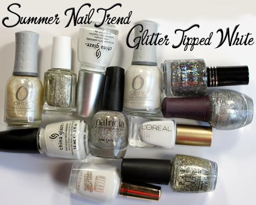 Summer Nail Polish Trend - Glitter Tipped White