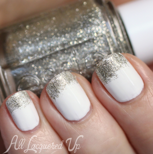 Glitter French White Manicure with China Glaze Snow & Essie Beyond Cozy