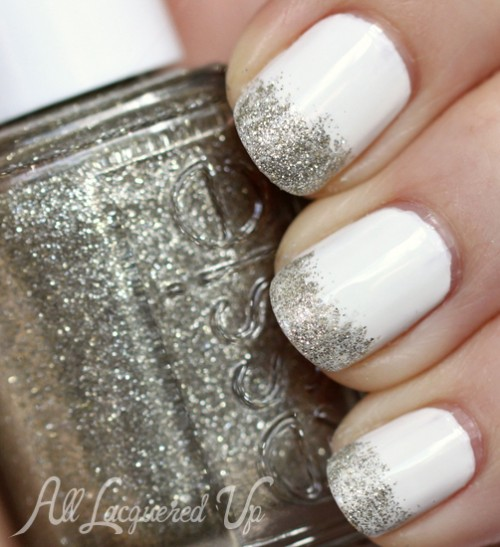 Glitter French White Manicure With China Glaze Snow Essie Beyond Cozy