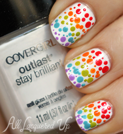 Rainbow Gradient Dotticure Nail Art with COVERGIRL Glosstinis