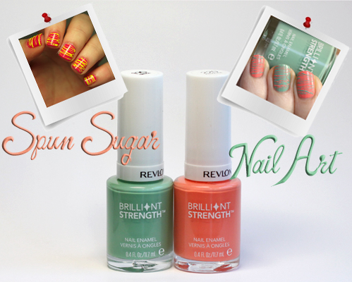 Spun sugar nail art with Revlon Brilliant Strength Nail Enamel