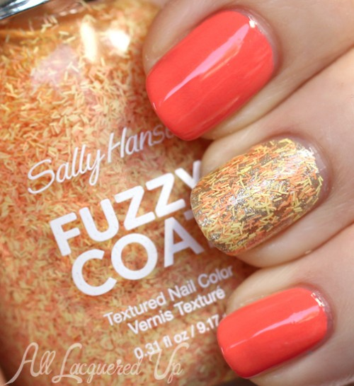 Sally Hansen Peach Fuzz Fuzzy Coat party nail with Coral Fever and Wedding Glitters