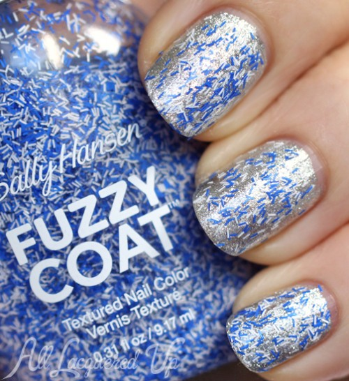 Sally Hansen Tight Knit Fuzzy Coat over Hi Ho Silver nail polish
