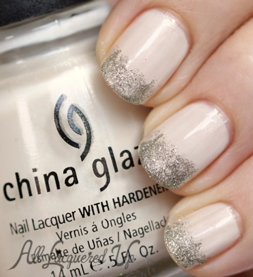 White Nails with Glitter Tips - China Glaze White Ice with Essie Beyond Cozy