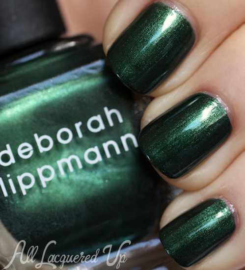 Deborah Lippmann Laughin To The Bank green nail polish swatch