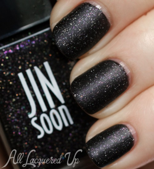 JINsoon Obsidian nail polish swatch with Matte Maker
