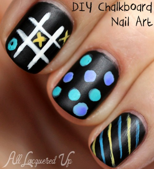 Chalkboard nail art with matte nail polish
