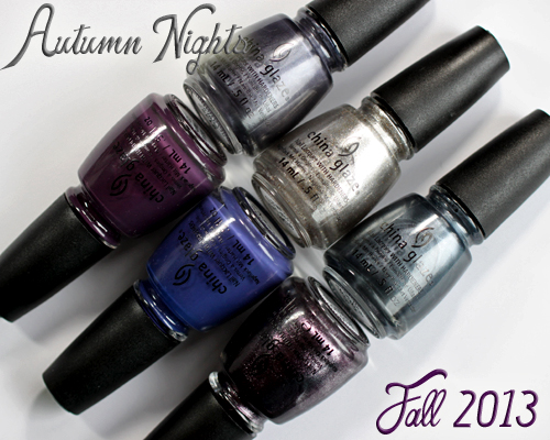 "China Glaze Autumn Nights Fall 2013 ""Gossip Over Gimlets"" Set Swatches and Review"
