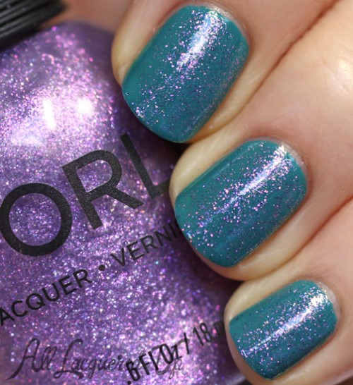 Orly Pixie Powder layered over Teal Unreal