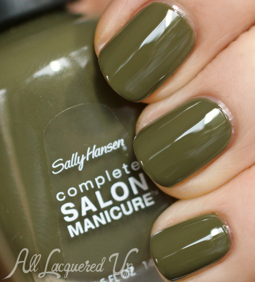Sally Hansen Loden Green nail polish swatch