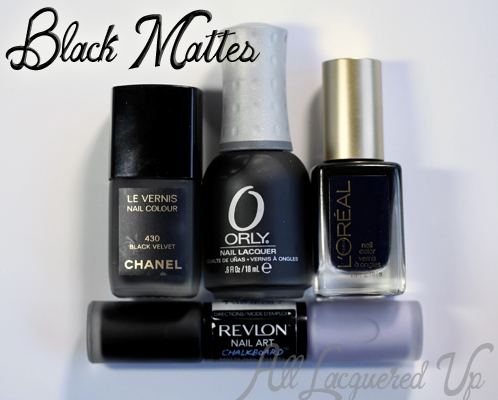 Black Matte Nail Polish from Chanel, L'Oreal, Orly and Revlon