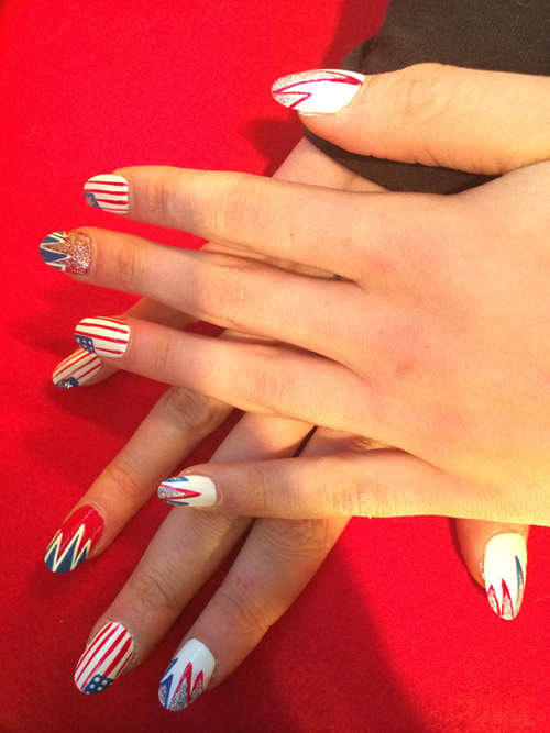Gracie Gold Olympics patriotic nail art