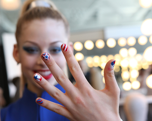 COVERGIRL Gracie Gold patriotic nail art for the Olympics
