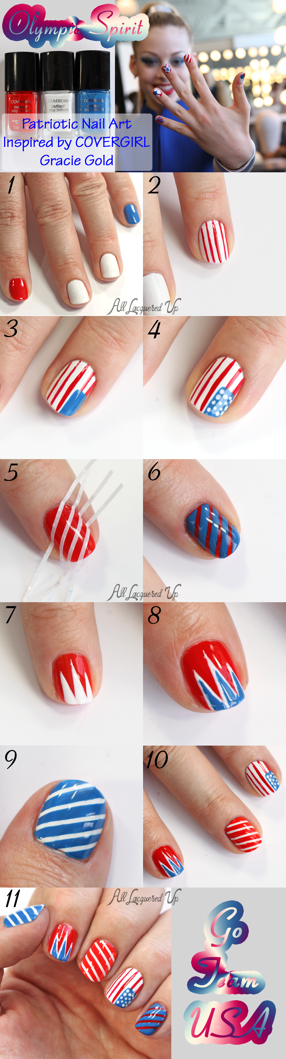 COVERGIRL Gracie Gold Inspired Olympic #TeamUSA #NailArt Tutorial