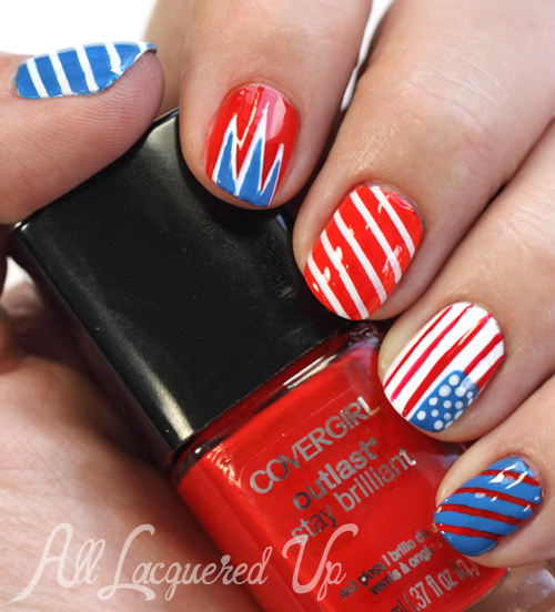 Sochi Olympics Patriotic Nail Art using COVERGIRL Outlast