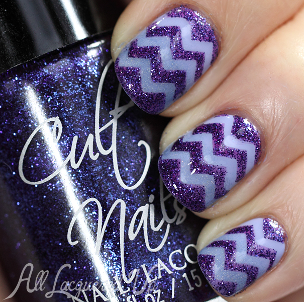 Chevron #NailArt using Cult Nails Intriguing, Winter's Light and Casual Elegance #swatch