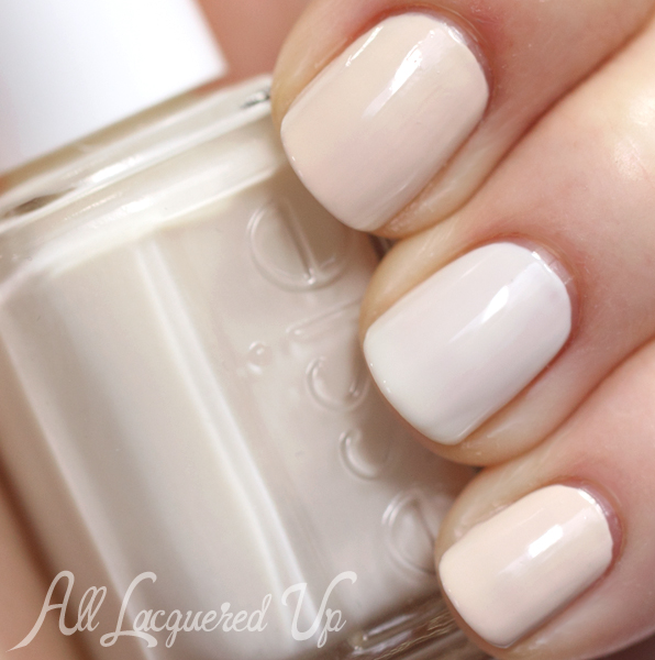 Essie Marshmallow and OPI My Vampire Is Buff swatch