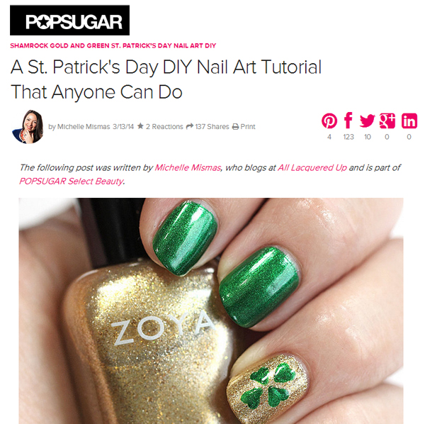 St Patricks Day #NailArt #Tutorial for PopSugar Beauty