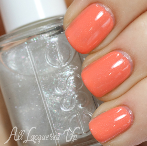Essie Resort Fling and Pure Pearlfection layering swatch #EssieLook
