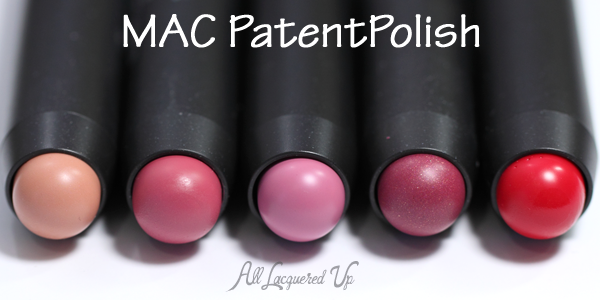 MAC Innocent, Kittenish, PatentPink, Spontaneous and Pleasant PatentPolish Lip Pencil