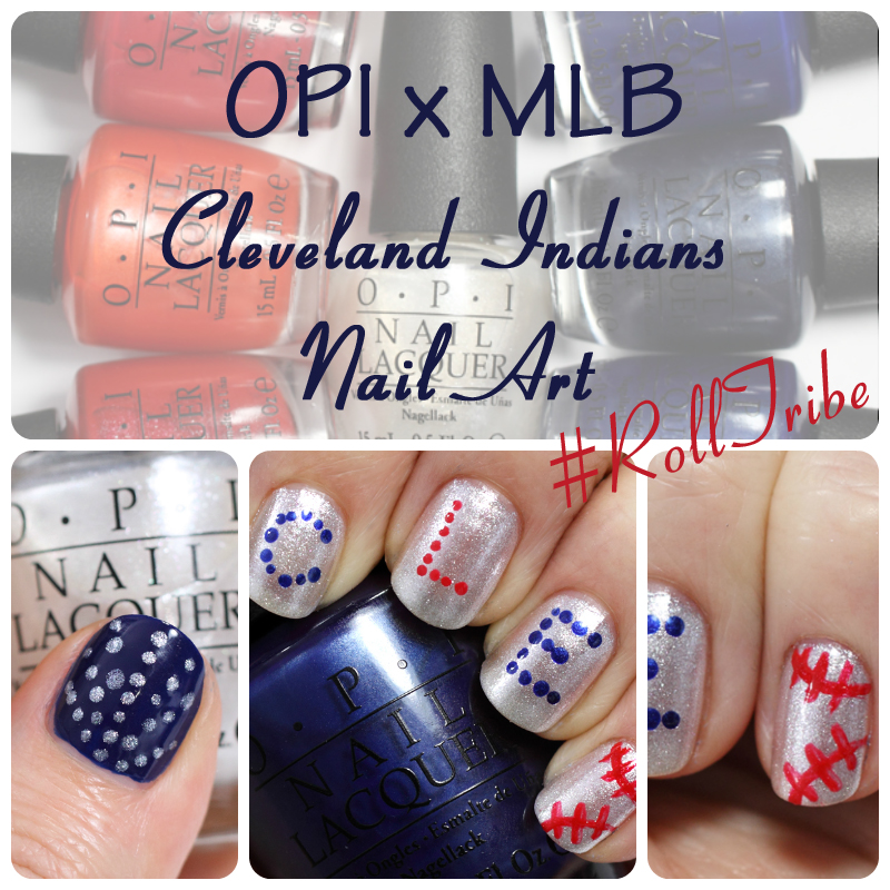 OPI x MLB Nail Art - Cleveland Indians #RollTribe