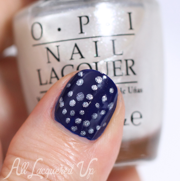 OPI Umpires Come Out At Night Nail Art