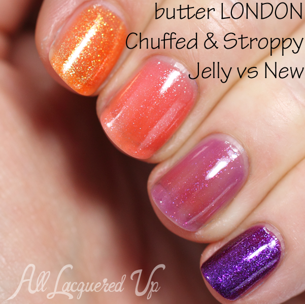 butter LONDON Chuffed and Stroppy comparison