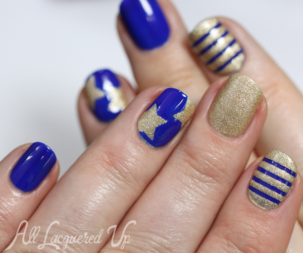 Blue and Gold Nautical Nail Art