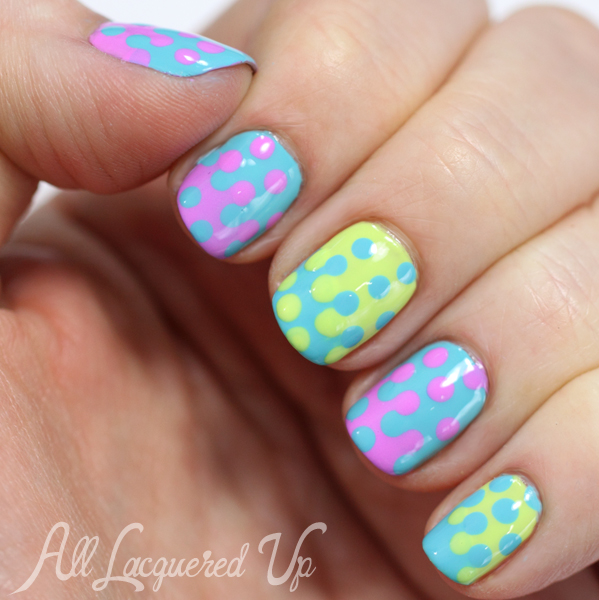 Maybelline Bleached Neons Interlocking Dots Nail Art