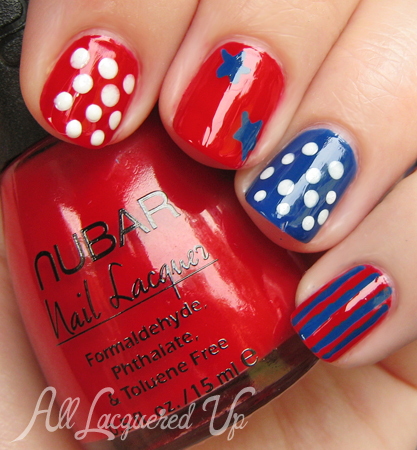 Red, White & Blue Stars & Stripes Nails