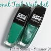 Tonal Teal Nail Art with Sally Hansen Summer 2014 Triple Shine Tahiti Sunset Collection