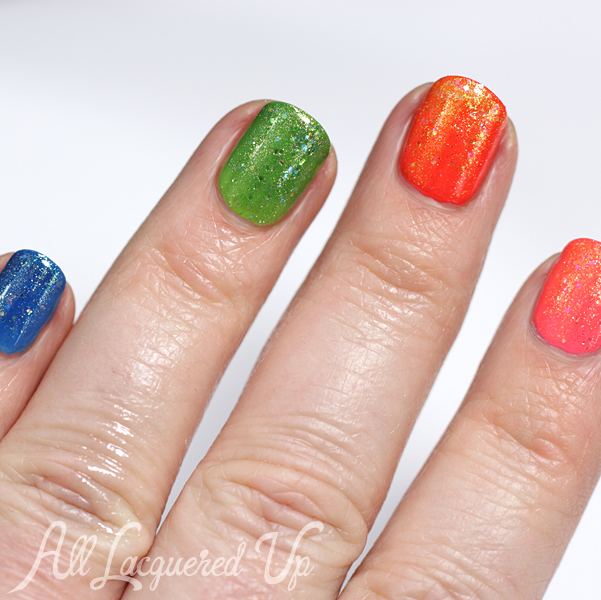 Zoya Bubbly & Tickled Rainbow Glitter Nails