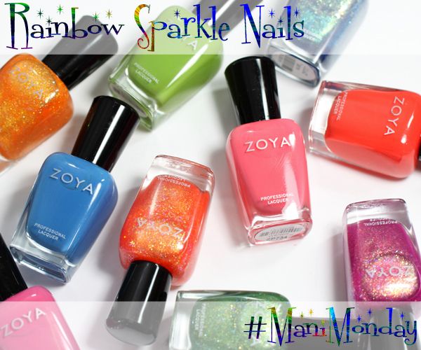 Zoya Tickled & Bubbly Rainbow Glitter Nails for #ManiMonday