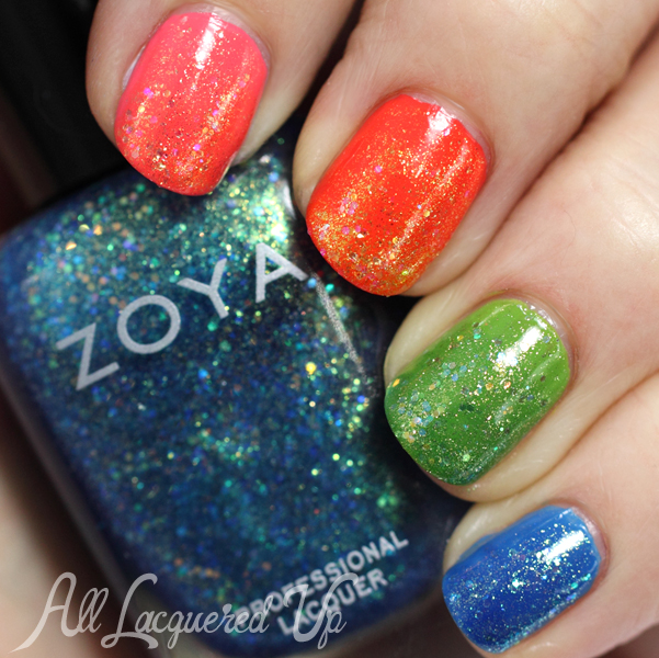 Zoya Tickled & Bubbly Rainbow Glitter Manicure